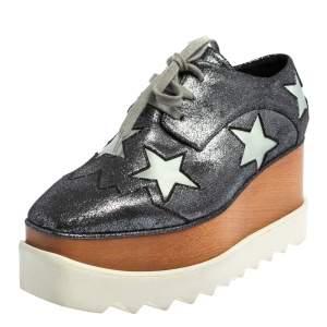 Stella McCartney Metallic Grey Faux Glitter Suede Elyse Star Platform Derby Size 36