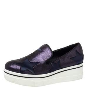 Stella McCartney Blue Faux Suede and Satin Binx Star Slip On Platform Sneakers Size 39