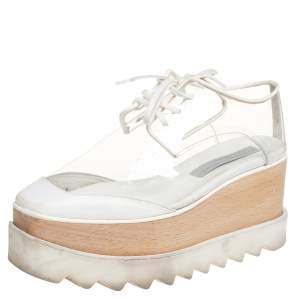 Stella McCartney White Faux Leather And PVC Elyse Platform Sneakers Size 35.5