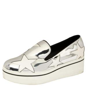 Stella McCartney Metallic Silver Faux Leather Binx Star Platform Slip On Sneakers Size 39