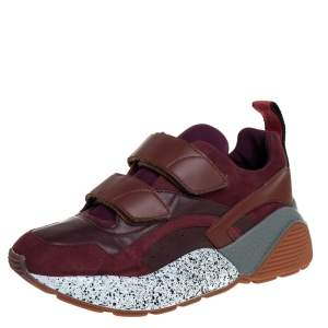 Stella McCartney Burgundy Faux Leather And Faux Suede Eclypse Lace Up Sneakers Sze 40