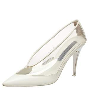 Stella McCartney White Faux Leather And PVC Pointed Toe Pumps Size 37
