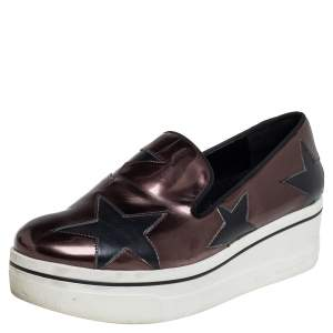 Stella McCartney Metallic Bronze Faux Leather Binx Star Platform Slip On Sneakers Size 40