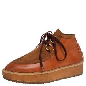 Stella McCartney Brown Faux Suede and Faux Leather Clipper Platform High Top Sneakers Size 41