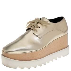 حذاء رياضي كعب روكي ستيلا مكارتني جلد صناعي ذهبي مقاس 38.5