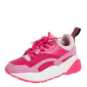 حذاء رياضي ستيلا مكارتني إكليبس نيوبريم وسويدي صناعي وردي عنق منخفض مقاس 37