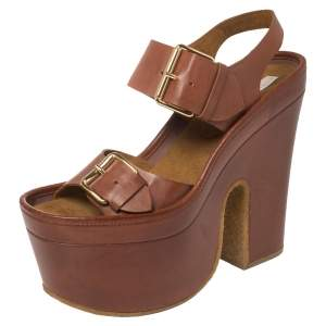 Stella McCartney Brown Faux Leather Buckle Block Heel Platform Sandals Size 40