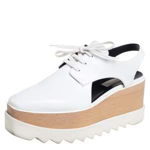 Stella McCartney White Faux Leather Elyse Cut Out Platform Derby Size 39