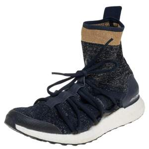 Stella  McCartney For adidas Athletic Blue Lurex Fabric High Top Sneakers Size 40.5