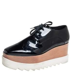 Stella McCartney Black Faux Patent Leather Elyse Platform Lace Up Derby Size 38.5