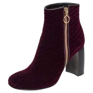 Stella McCartney Burgundy Woven Velvet Block Heel Ankle Booties Size 38