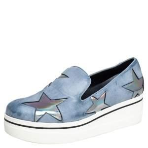 Stella McCartney Grey Faux Leather Binx Star Slip On Sneakers Size 39