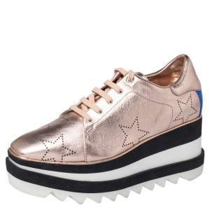 Stella McCartney Metallic Gold Leather Elyse Star Platform Sneakers Size 38