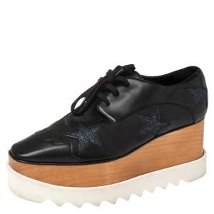 Stella McCartney Black Faux Leather Elyse Star Platform Lace Up Derby Size 38.5
