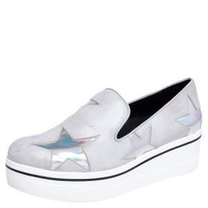Stella McCartney Grey Faux Leather Binx Star Platform Slip On Sneakers Size 40