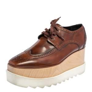 Stella McCartney Brown Faux Leather Elyse Platform Derby Size 39