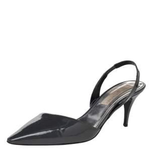 Stella McCartney Grey Faux Patent Leather Slingback Sandals Size 37