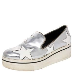 Stella McCartney Metallic Silver Faux Leather Binx Star Platform Slip On Sneakers Size 41
