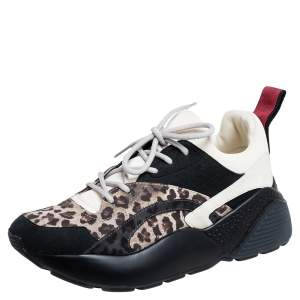 Stella McCartney Multicolor Leopard Print Faux Suede and Fabric Eclypse Low Top Sneakers Size 38