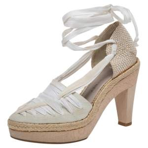 Stella McCartney White Fabric And Canvas Platform Ankle Wrap Pumps Size 37.5