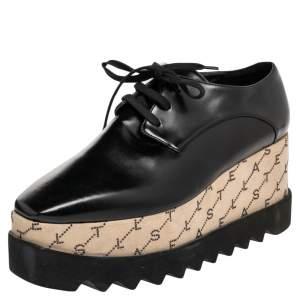Stella McCartney Black/Beige Faux Leather Monogram Elyse Platform Derby Sneakers Size 38
