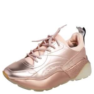 Stella McCartney Metallic Rose Gold Faux Leather Eclypse Low Top Sneakers Size 39