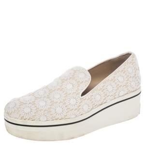Stella McCartney White Crochet And Canvas Platform Slip On Sneakers Size 39