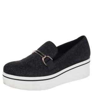 Stella McCartney Black Lurex Fabric Binx Platform Slip On Sneakers Size 40