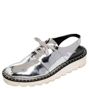 Stella McCartney Metallic Silver Faux Leather Odette Slingback Flats Size 37