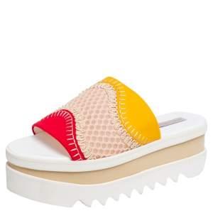 Stella McCartney Multicolor Neoprene Fabric and Lace Platform Slide Sandals Size 40