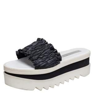 Stella McCartney Black Ruffle Faux Leather Platform Slide Sandals Size 39