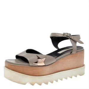 Stella McCartney Grey Faux Leather Wedge Sandals Size 40