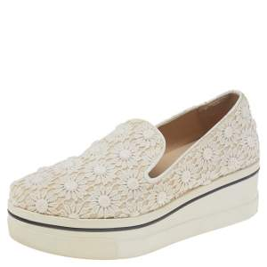 Stella McCartney Cream Floral-lace Slip on Sneakers Size 36