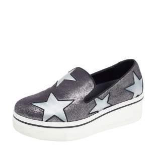 Stella McCartney Metallic Grey Faux Suede And Satin Binx Star Platform Slip On Sneakers Size 38