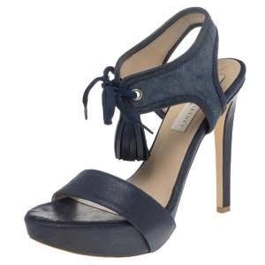 Stella McCartney Navy Blue Faux Leather And Canvas Platform Ankle Wrap Tassel Sandals Size 38.5