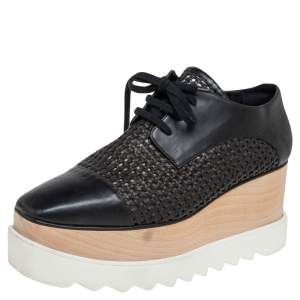 Stella McCartney Black Woven Faux Leather  Elyse Platform Derby Sneakers Size 38