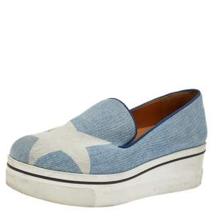 Stella McCartney Blue Denim Binx Slip On Sneakers Size 38