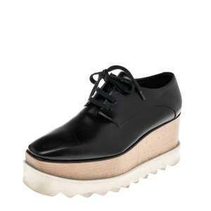 Stella McCartney Black Faux Leather Elyse Platforms Sneakers Size 36