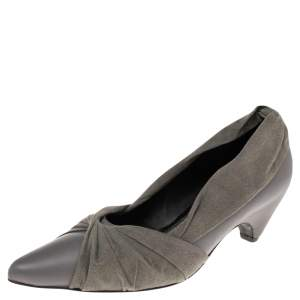 Stella McCartney Grey Faux Suede And Faux Leather Pointed Toe Pumps Size 36
