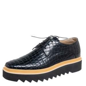 Stella McCartney Black Croc Embossed Faux Leather Platform Sneakers Size 41