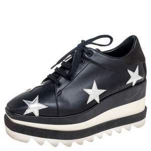 Stella McCartney Black Faux Leather Elyse Star Platform Lace Up Sneakers Size 35