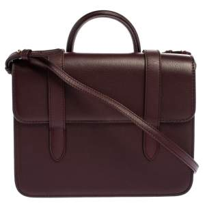 Strathberry Plum Leather Midi Top Handle Bag