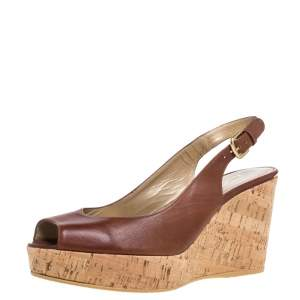 Stuart Weitzman for Russell & Bromley Brown Leather Cork Wedge Platform Slingback Sandals Size 38