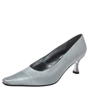 Stuart Weitzman Metallic Silver Fabric Pumps Size 39.5