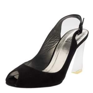 Stuart Weitzman Black Suede Springfling Wedge Slingback Sandals Size 36.5