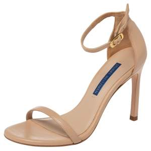 Stuart Weitzman Beige Leather Ankle Strap Open Toe Sandals Size 35