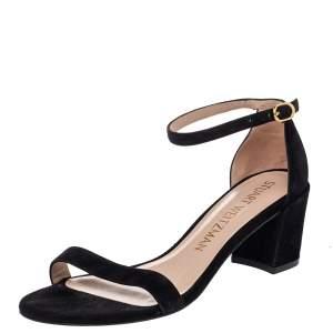 Stuart Weitzman Black Suede Block Heel Ankle Strap Sandals Size 38.5