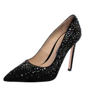 Stuart Weitzman Black Suede Crystal Embellished Lalaina Pumps Size 38