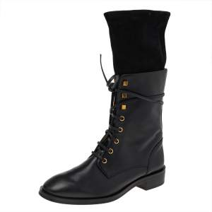 Stuart Weitzman Black Suede And Leather Mid Calf Length Boots Size 40
