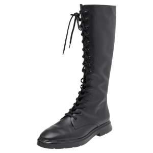 Stuart Weitzman Black Leather Knee Length Lace Up Boots Size 40